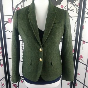 J Crew Green Military Blazer Gold Buttons Wool 🍁